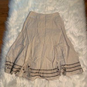 Chico's Flare Linen Skirt Beige Embroidered